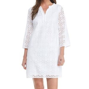 Crown and Ivy White Cotton Eyelet Dress